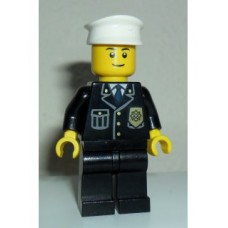 cty005a Police - City Suit with Blue Tie and Badge, Black Legs, White Hat, Black Eyebrows, Thin Grin
