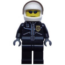cty006 Police - City Leather Jacket with Gold Badge