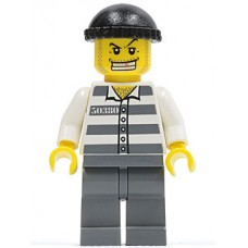 cty007 Police - Jail Prisoner 50380 Prison Stripes, Dark Bluish Gray Legs, Black Knit Cap, Gold Tooth