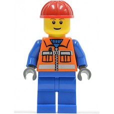 cty009 Construction Worker - Orange Zipper, Safety Stripes, Blue Arms, Blue Legs, Red Construction Helmet