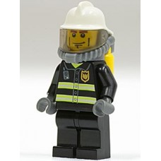 cty024 Fire - Reflective Stripes, Black Legs, White Fire Helmet, Breathing Neck Gear with Airtanks