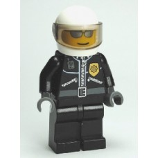 cty027a Police - City Leather Jacket with Gold Badge and 'POLICE' on Back, White Helmet, Trans-Black Visor, Silver Sunglasses