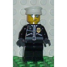 cty039 Police - City Leather Jacket with Gold Badge, White Hat, Silver Sunglasses