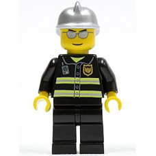 cty047 Fire - Reflective Stripes, Black Legs, Silver Fire Helmet, Silver Sunglasses