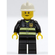 cty090 Fire - Reflective Stripes, Black Legs, White Fire Helmet, Brown Eyebrows, Thin Grin