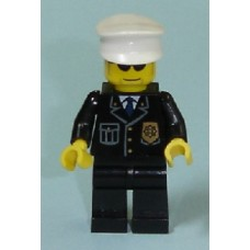 cty094 Police - City Suit with Blue Tie and Badge, Black Legs, Sunglasses, White Ha