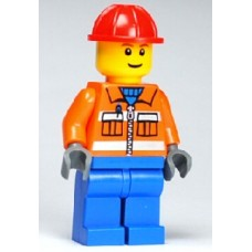 cty105 Construction Worker - Orange Zipper, Safety Stripes, Orange Arms, Blue Legs, Red Construction Helmet