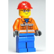 cty110 Construction Worker - Orange Zipper, Safety Stripes, Orange Arms, Blue Legs, Red Construction Helmet, Glasses