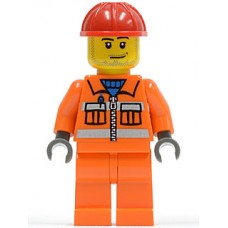 cty113 Construction Worker - Orange Zipper, Safety Stripes, Orange Arms, Orange Legs, Red Construction Helmet, Smirk and Stubble Beard