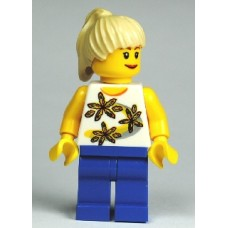 cty130 Yellow Flowers - Tan Ponytail, Blue Legs