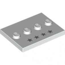 Part 88646pb004 White Tile, Modified 3 x 4 with 4 Studs in Center with 4 Silver Stars Pattern