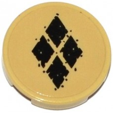 Part 14769pb103 Tan Tile, Round 2 x 2 with Bottom Stud Holder with 4 Black Diamonds Pattern (Sticker) - Set 76053