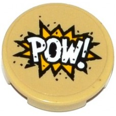 Part 14769pb104 Tan Tile, Round 2 x 2 with Bottom Stud Holder with 'POW!' in Yellow Starburst Pattern (Sticker) - Set 76053