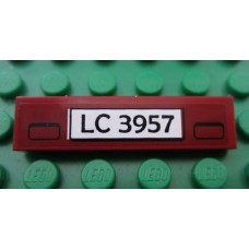 Part 2431pb169 Dark Red Tile 1 x 4 with 'LC 3957' License Plate Pattern (Sticker) - Set 7325