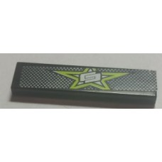 Part 2431pb402 Black Tile 1 x 4 with Lime Star and White and Black Mesh Pattern (Sticker) - Set 8681