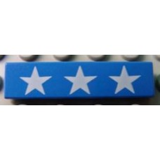 Part 2431px6 Blue Tile 1 x 4 with 3 White Stars Pattern