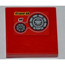 bpb0587 Red Tile 2 x 2 with 'Octane-88', 'oil' and 2 Filler Caps Pattern (Sticker) - Set 9441