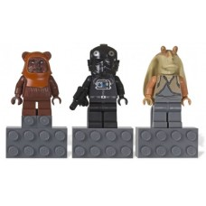 Gear 853414 Magnet Set, Minifigs SW (3) - Wicket, V-Wing Pilot, Jar Jar Binks - Glued with 2 x 4 Brick Bases