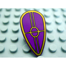Part 2586ps1 Purple Minifig, Shield Ovoid with SW Gungan Patrol Shield Pattern