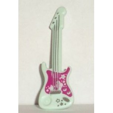 Part 11640pb01 Light Aqua Minifig, Utensil Guitar Electric with Silver Strings and Stars on Magenta Background Pattern