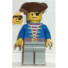 pi008 Pirate Blue Jacket, Light Gray Legs, Brown Pirate Triangle Hat