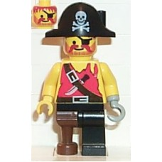 pi022 Pirate Shirt with Knife, Black Leg with Peg Leg, Black Pirate Hat with Skull