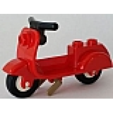 Part 15396c02 Red Scooter with Dark Tan Stand and Black Handlebars - Complete Assembly