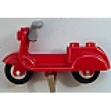 Part 15396c05 Red Scooter with Dark Tan Stand and Light Bluish Gray Handlebars - Complete Assembly