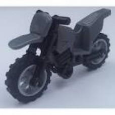 Part 50860c02 Dark Bluish Gray Motorcycle Dirt Bike, Complete Assembly with Black Chassis and Light Bluish Gray Wheels